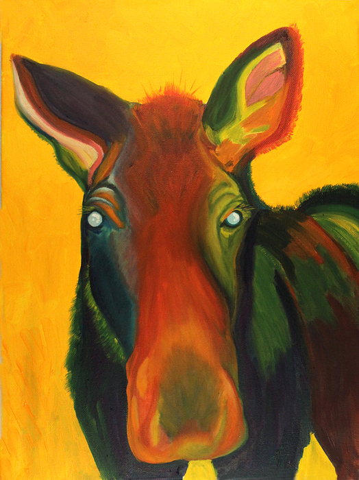 Moose Painting - Colorful Cow by Amy Reisland-Speer