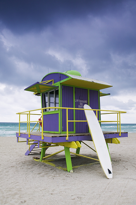 Architecture Photograph - Colorful Lifeguard Station And Surfboard by Jeremy Woodhouse