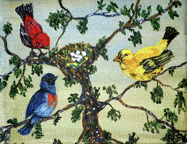 Birds Painting - Colorful Nesting Birds by Ann Ingham