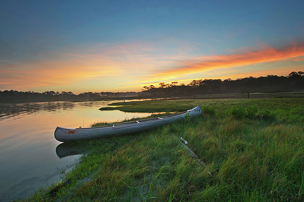 Canoe Photograph - Colorful Sunrise - Assateague Island - Maryland by Brendan Reals