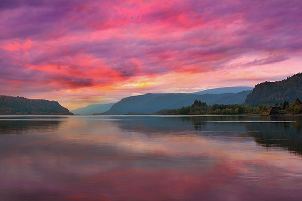 Sunrise Photograph - Colorful Sunrise At Columbia River Gorge by David Gn