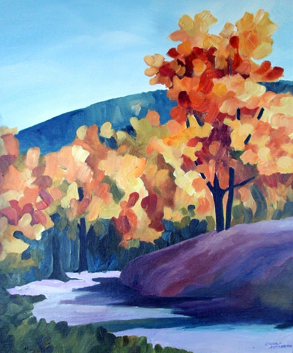 Landscape Painting - Colourful Autumn by Carola Ann-Margret Forsberg