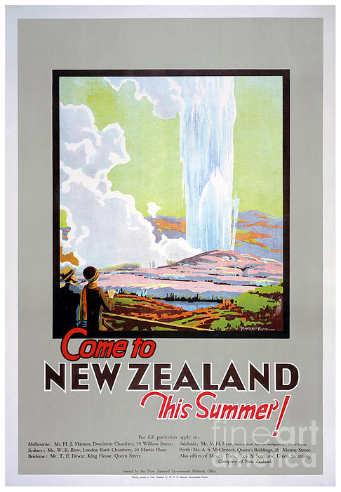 Vintage Travel Photograph - Come To New Zealand Vintage Travel Poster by Carsten Reisinger
