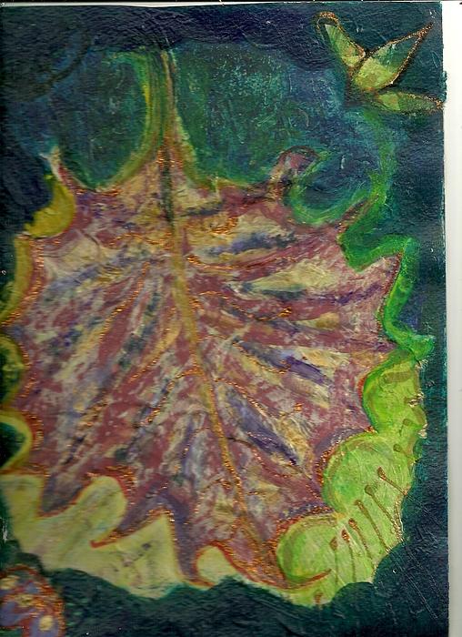 Leaf Painting - Coming To Me Floating Leaf  by Anne-Elizabeth Whiteway
