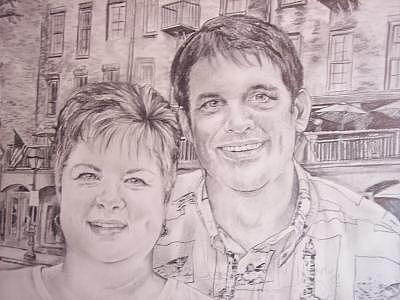 Commissioned Portrait Of Couple Drawing by Carrie Williamson