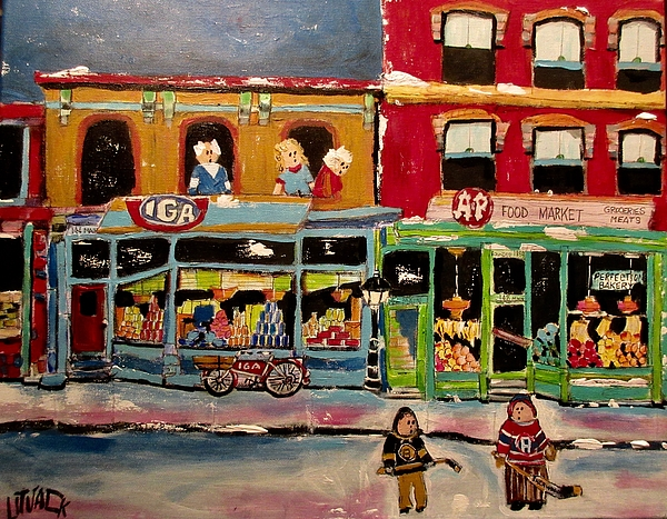 Montreal Canadiens Painting - Competition On Main Street by Michael Litvack
