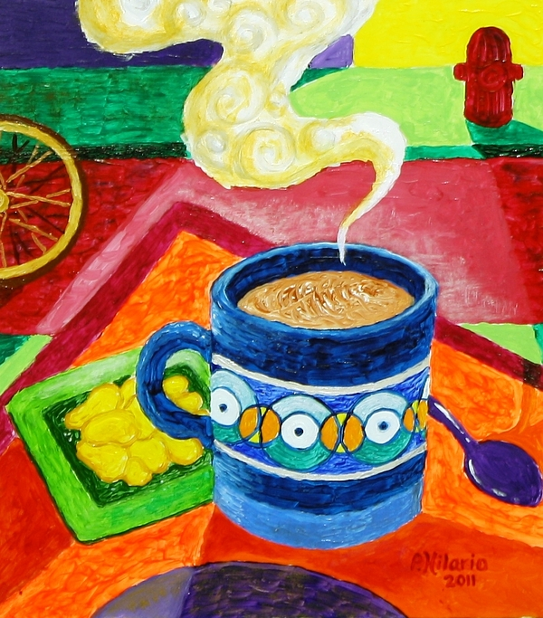 Coffee Painting - Complementary Coffee 2 by Paul Hilario