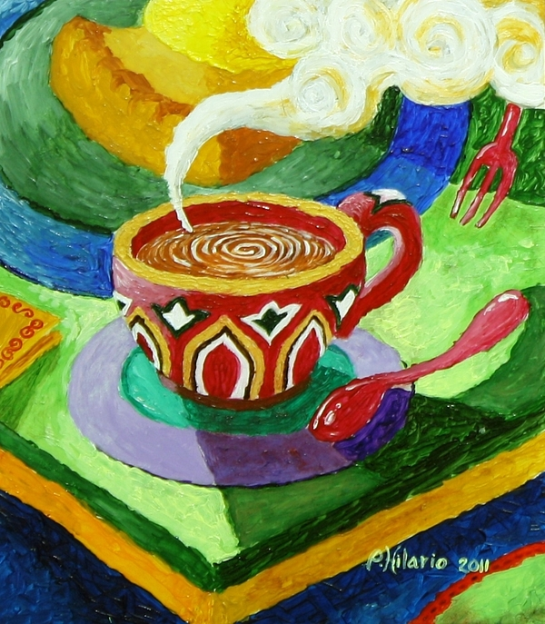 Coffee Painting - Complementary Coffee 3 by Paul Hilario