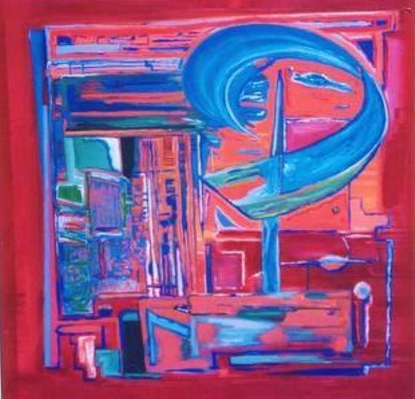 Red Painting - Composicion Azul by Michael Puya