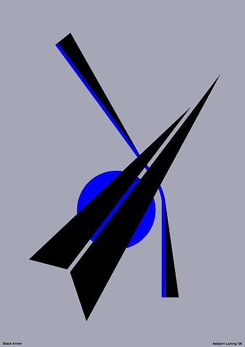 Black Arrow Digital Art - Composition Black Arrow by Asbjorn Lonvig