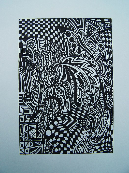 Visual Collage Drawing - Confused Series 3 by Joseph Norvell