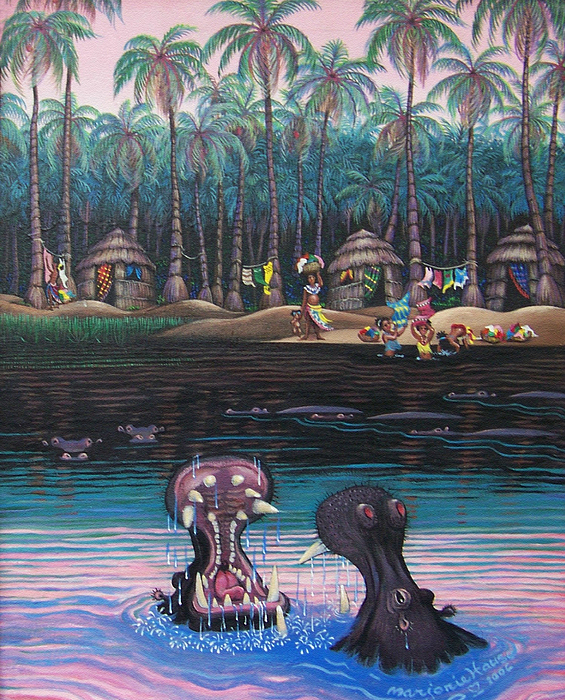 Hippos Painting - Congo Wash Day by Marjorie Hause