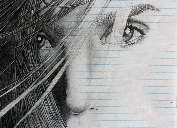 Portraits Drawing - Connellys Eyes by Ted Castor