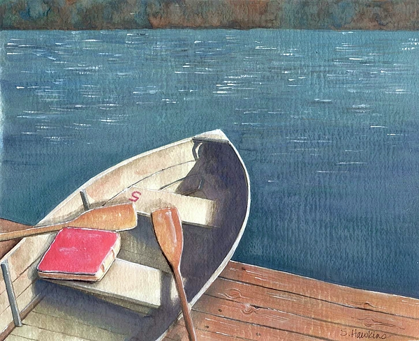 Watercolor Painting - Connetquot Park Row Boat by Sheryl Heatherly Hawkins