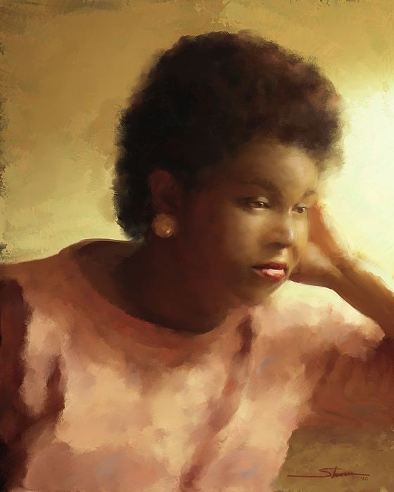 Women Painting - Contemplation by Carver Shivers