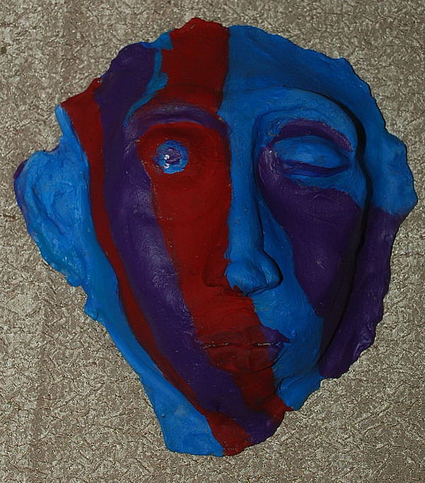 Cool Colors Sculpture - Contemporary Mask by Aldonia Bailey