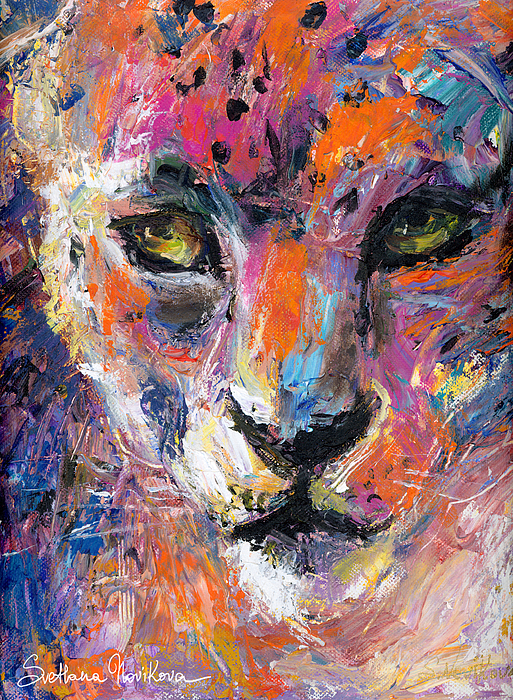 Wildlife Painting Painting - contemporary Wildlife painting cheetah leopard  by Svetlana Novikova