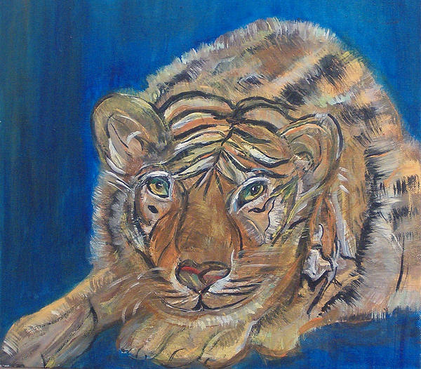 Tiger Painting - Contented Tiger by Mikki Alhart