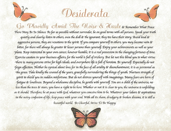 Butterflies Mixed Media - Copper Butterfly Desiderata by Desiderata Gallery