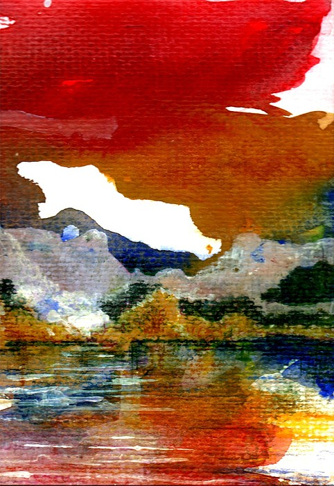 Sunset Painting - Copper Lake by Melody Horton Karandjeff