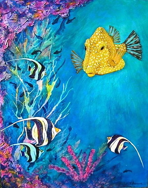 Coral Reef Yellow Trunk Fish Painting by Ke Robinson