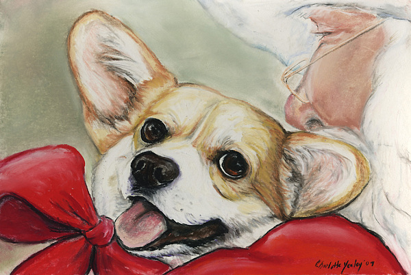 Pet Painting - Corgi For Christmas by Charlotte Yealey