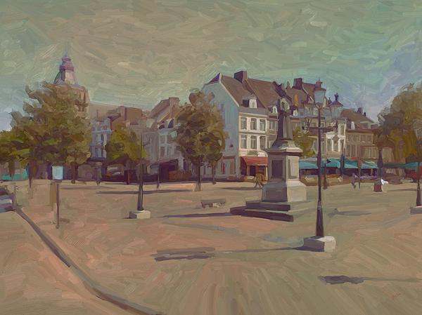 Maastricht Painting - Corner Bosch Street And Market Maastricht by Nop Briex