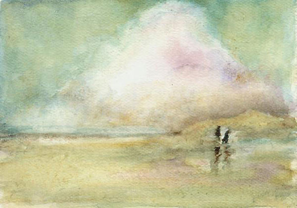 Beach Scene Print - Corolla Beach Stroll by Donna Elio