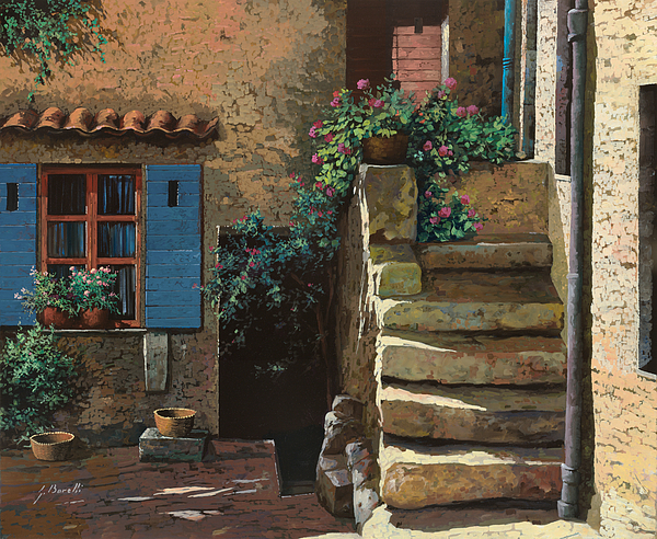 Courtyard Painting - Cortile Interno by Guido Borelli