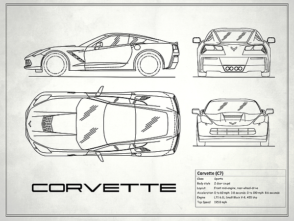 Corvette c7 blueprint in white photograph by mark rogan corvette blueprint photograph corvette c7 blueprint in white by mark rogan malvernweather Images