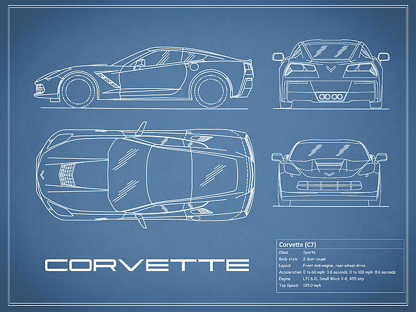 Corvette c7 blueprint photograph by mark rogan corvette blueprint photograph corvette c7 blueprint by mark rogan malvernweather Images