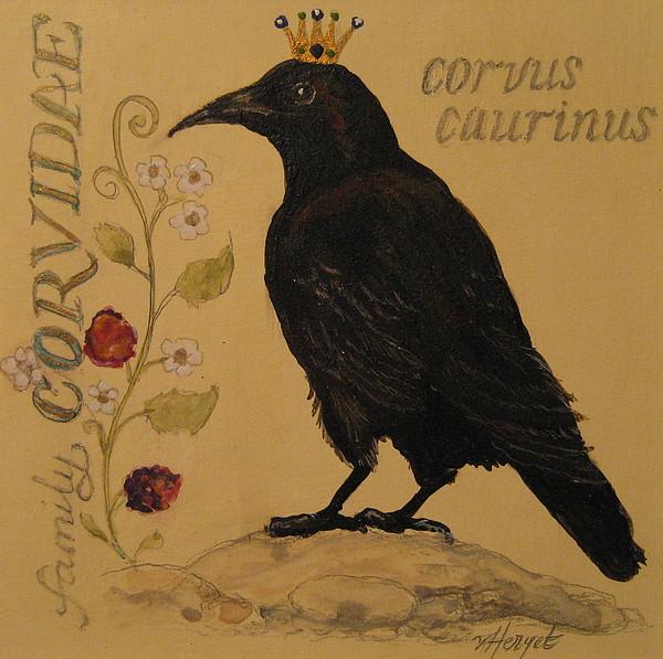 Crow Painting - Corvus Caurinus by Victoria Heryet