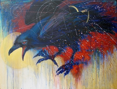 Raven Painting - Corvus Major by Roberta Smith