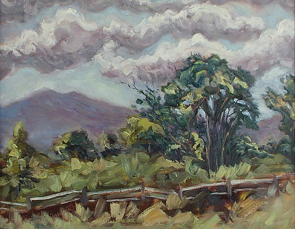 Cottonwood Painting - Cottonwoods At The Ranch by Zanobia Shalks