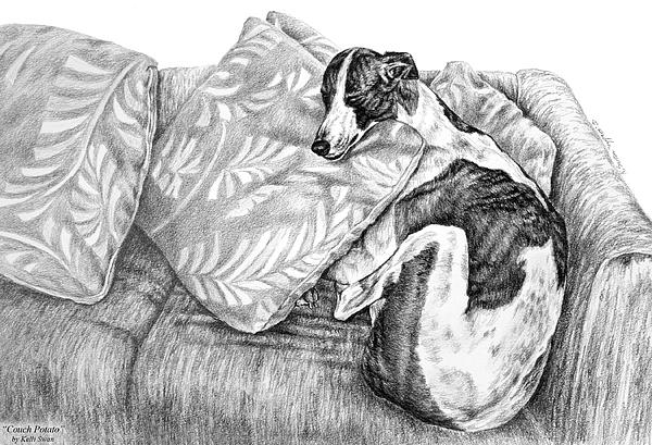 Greyhound Drawing - Couch Potato Greyhound Dog Print by Kelli Swan