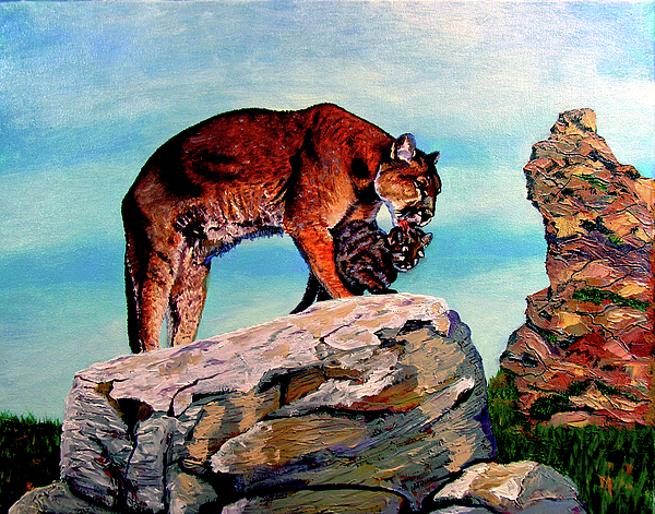 Cougar Painting - Cougars Mother And Cub by Stan Hamilton