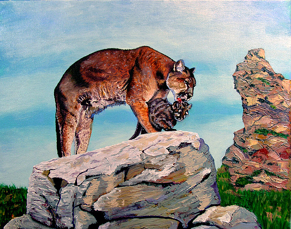 Wildlife Painting - Cougars by Stan Hamilton