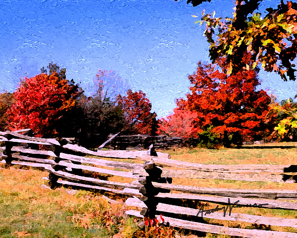 Fence Painting - Country Autumn by Anthony Caruso