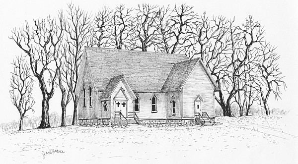 Country Church 1 Drawing By Jack G Brauer