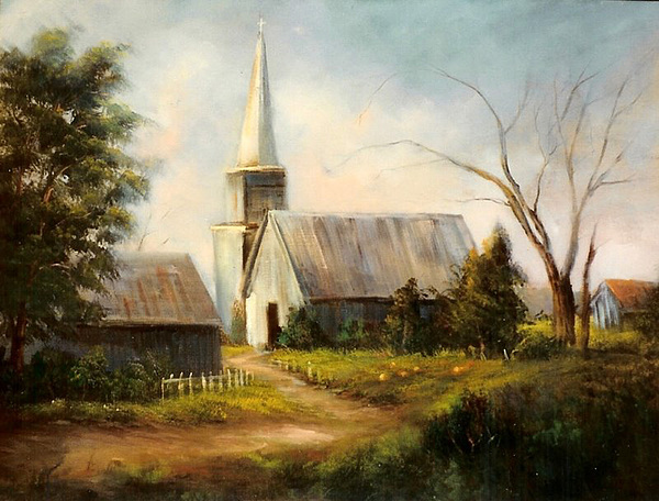 Country Church Painting By Sally Seago