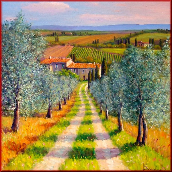 Country Path Painting By Mauro Bendinelli