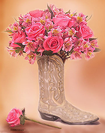 Boots Digital Art - Country Rose by Grenette Gillespie