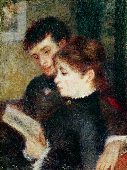 Lesson Painting - Couple Reading by Pierre Auguste Renoir