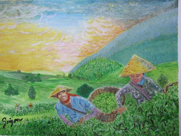 Tea Farm Painting - Courtship At The Tea-farm by SAIGON De Manila