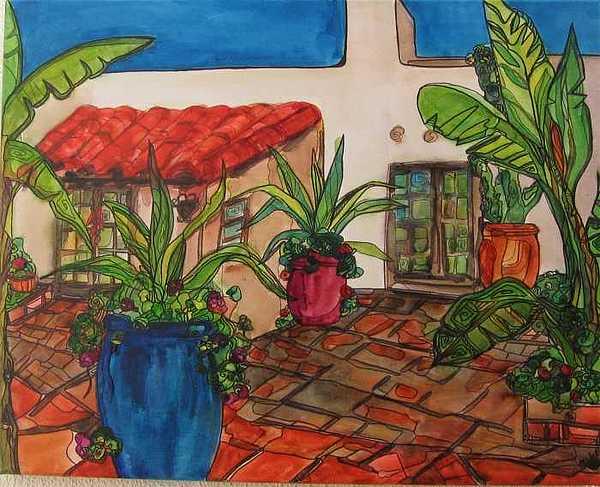 Courtyard In Rancho Santa Fe Painting by Michelle Gonzalez