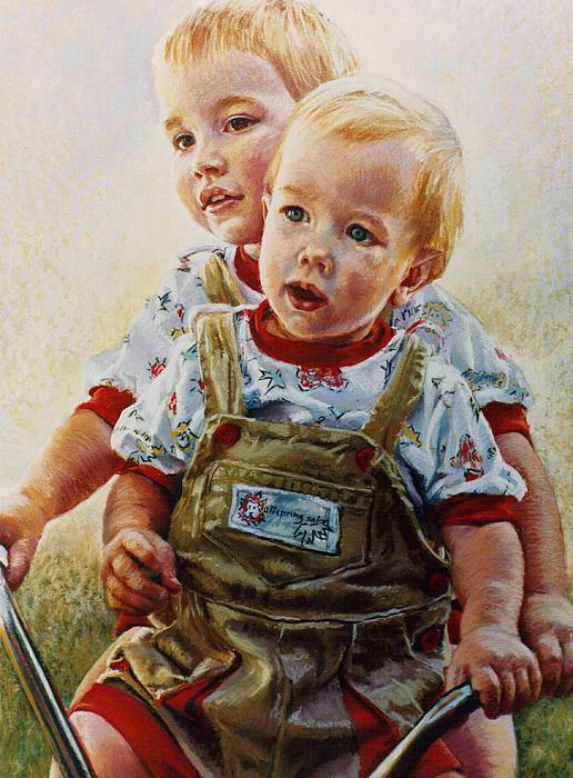 Pastel Portrait Pastel - Cousins by Jean Hildebrant