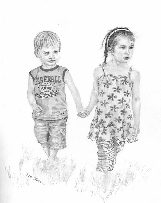 Little Girl Drawing - Cousins by Sue Olson
