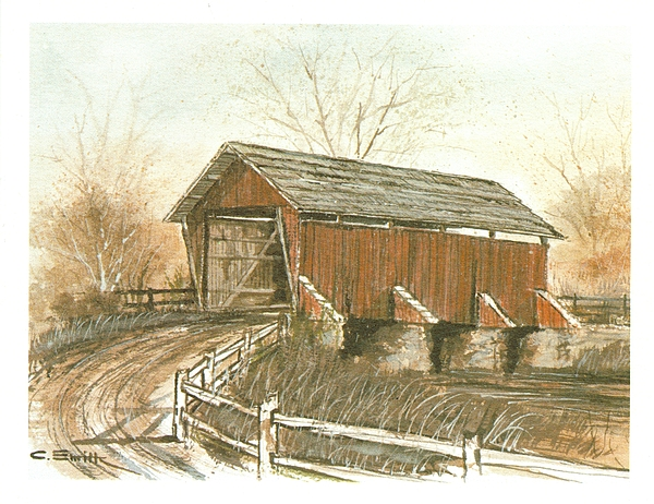 Covered Bridge Painting - Covered Bridge by Charles Roy Smith