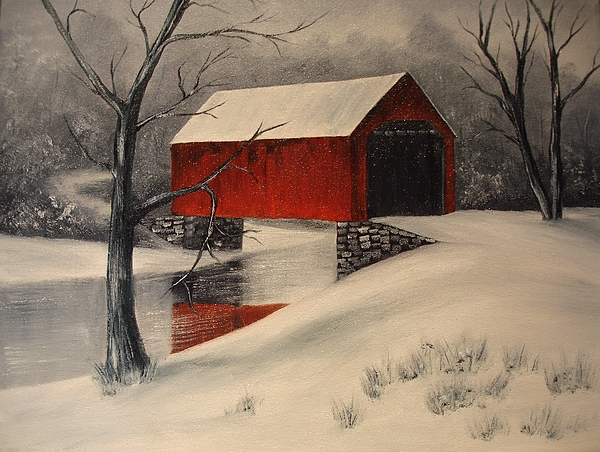 Red Painting - Covered Bridge In The Snow by Rosie Phillips