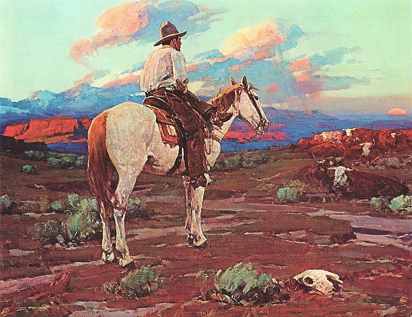 Pd Painting - Cowboy Country by Pg Reproductions